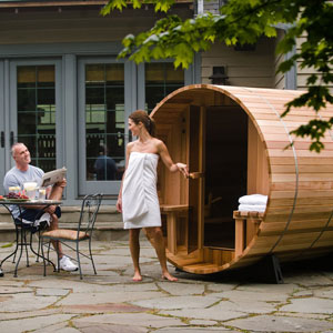 Almost Heaven Saunas Audra Canopy Barrel Sauna