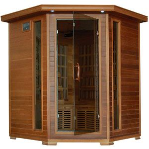 Radiant Saunas BSA1320 4 Person Cedar Corner Infrared Sauna